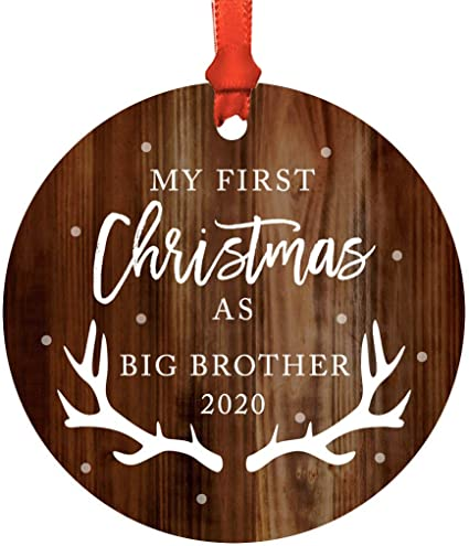 Amazon Com Andaz Press Custom Year Family Metal Christmas Ornament My First Christmas As Big Brother 2020 Rustic Wood 1 Pack Includes Ribbon And Gift Bag Health Personal Care