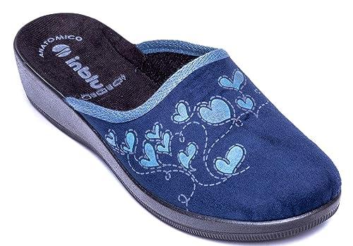 INBLU Pantofole Ciabatte Invernali da Donna Art. CL-71 Blu (37 EU ... 4145903cf3f