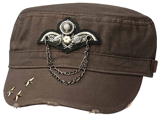 8110a7867b4 Amazon.com  Sakkas 3111DC Distressed Military Cadet Cap - Brown ...