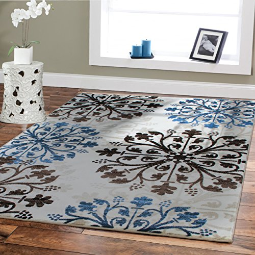 Premium Soft Rugs For Living Room Luxury 5x8 Cream Blue