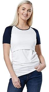235p HAPPY MAMA Damen Mutterschaft Hemd Farbe Blockiert Rundhalsausschnitt