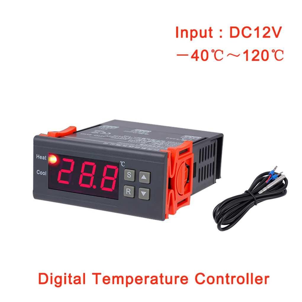 Topker Regulador del termostato de MH1210A DC 12V Regulador de temperatura del refrigerador LCD digital Controlador de termopar con sensor