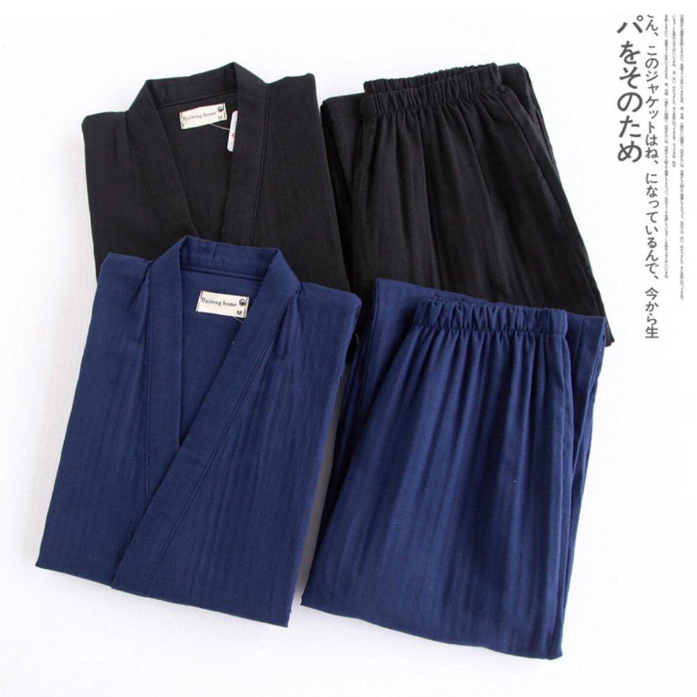 Mens Japanese Style Robes Kimono Pajamas Suit Meditation Set