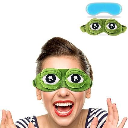 Diseño de rana de pelusas – Máscara para dormir Funny Cartoon Antifaz para dormir antifaz para