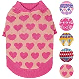Blueberry Pet 7 Patterns Cutie V-neck Dog Sweater in Shrimp Color with Valentine Pink Hearts, Back Length 10'', Pack of 1 Clothes for Dogs
