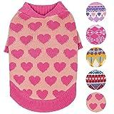 #4: Blueberry Pet 5 Patterns Cutie V-neck Dog Sweater in Shrimp Color with Valentine Pink Hearts, Back Length 14