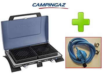 Hornillo portátil de acampada 2 Fuegos Modelo 400sg Campingaz plegable a maletín con rejillas extraíbles y