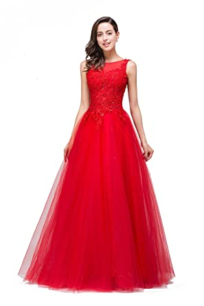 Misshow Elegant Sleeveless Open Back Formal Floor Length Prom Evening Party Dress, Red, Size