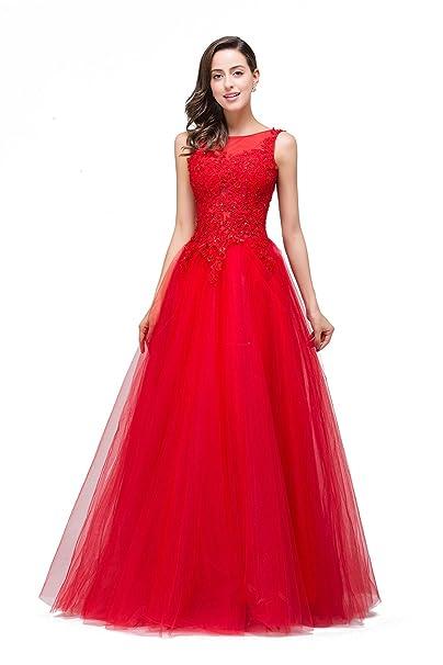 Babyonlinedress Vestido largo de fiesta para boda vestido rojo de tul para ceremonia graduación festival espectáculo