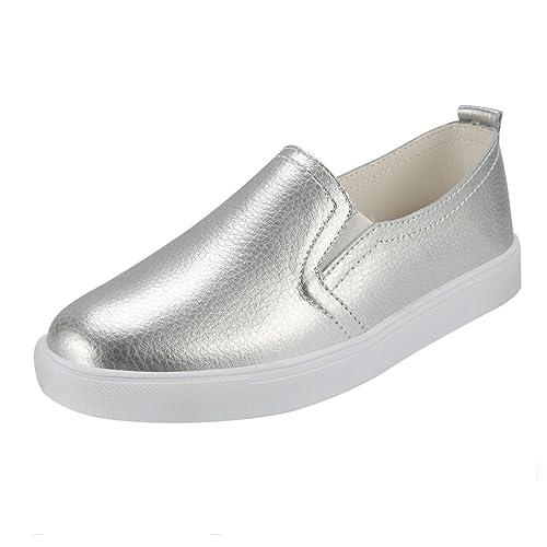 55b03827555 Zapatos sin Cordones para Mujer QIMAOO Zapatos de Cuero Zapatos Slip on  Zapatillas Planos Casuales Calzado Deportivo Zapatillas Estudiante:  Amazon.es: ...