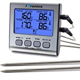 iTronics TP17 Dual Probe Digital Cooking Meat Thermometer Large LCD Backlight Food Grill Thermometer with Timer Mode for Smoker Kitchen Oven BBQ