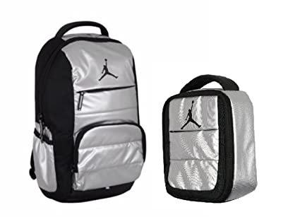 7bdab419b78df7 Nike Kid s Air Jordan Jumpman Backpack and Insulated Lunch Tote Set (Metal  Silver)  Amazon.in  Toys   Games