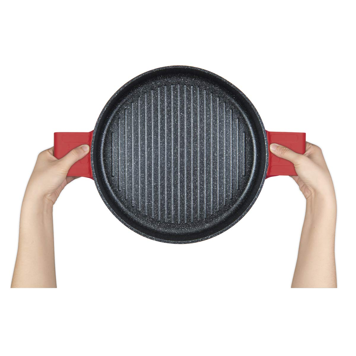 MasterPan Non-Stick Stovetop Oven Grill Pan with Heat-in Steam-Out Lid, nonstick cookware, 12'', Red, MP-106 by Master Pan (Image #6)