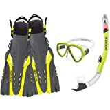Body Glove Aquatic Enlighten II Mask Snorkel and Fins Set, Large/X-Large, Yellow/Black