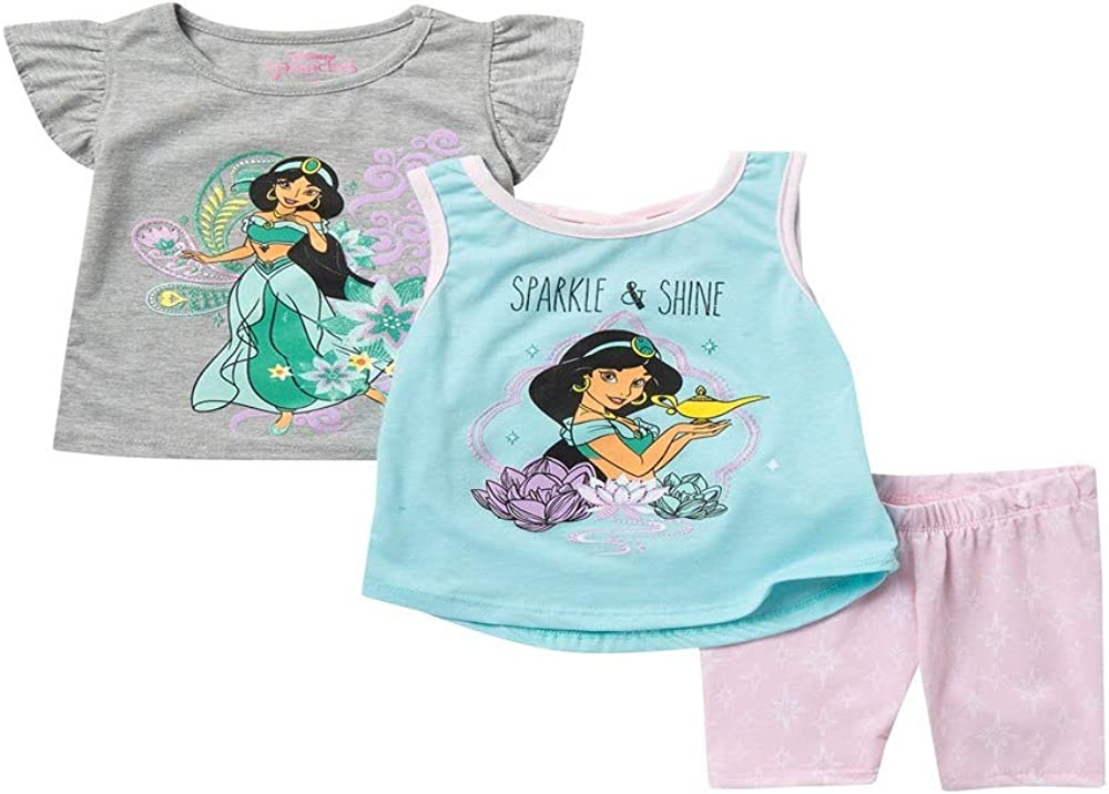 Disney Baby Girls' Toddler Tshirts Tank Top and Short Piece Clothes Set