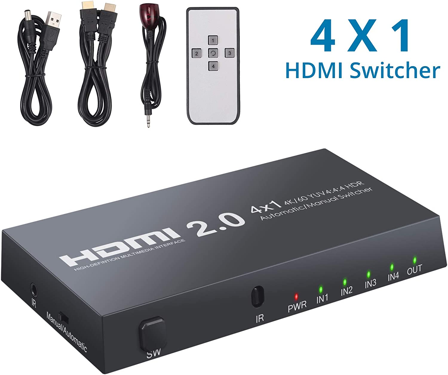 4K@60hz 4 Port 4 X 1 HDMI Switcher Selector 18Gbps Support PS3//4//5 LPCM7.1 DSD,3D etc CAMWAY HDMI Switch with Audio Out IR Wireless Remote PCM Dolby TrueHD VCD//DVD Plyer,Blue-ray Player,DTS-HD
