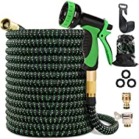 """Maxee 50FT Garden Hose, Kink Free Expandable Garden Hose with 9 Function Spray Nozzle 3/4"""" Solid Brass Fittings, Double…"""