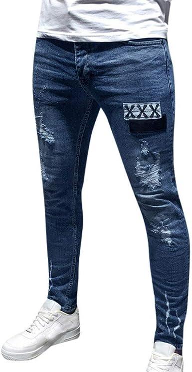 Vaqueros Hombres Rotos Pitillo Jeans Originales Skinny Denim Pantalon Ajustados Jeans Pantalones De Mezclilla Slim Hole Para Hombre Moda Casual Vaqueros Amazon Es Ropa Y Accesorios