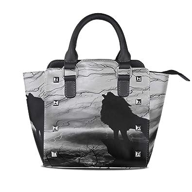 26b87396dca7 Shoulder Bag Set For Women Wolf Silhouette Howling Thunderstorm ...