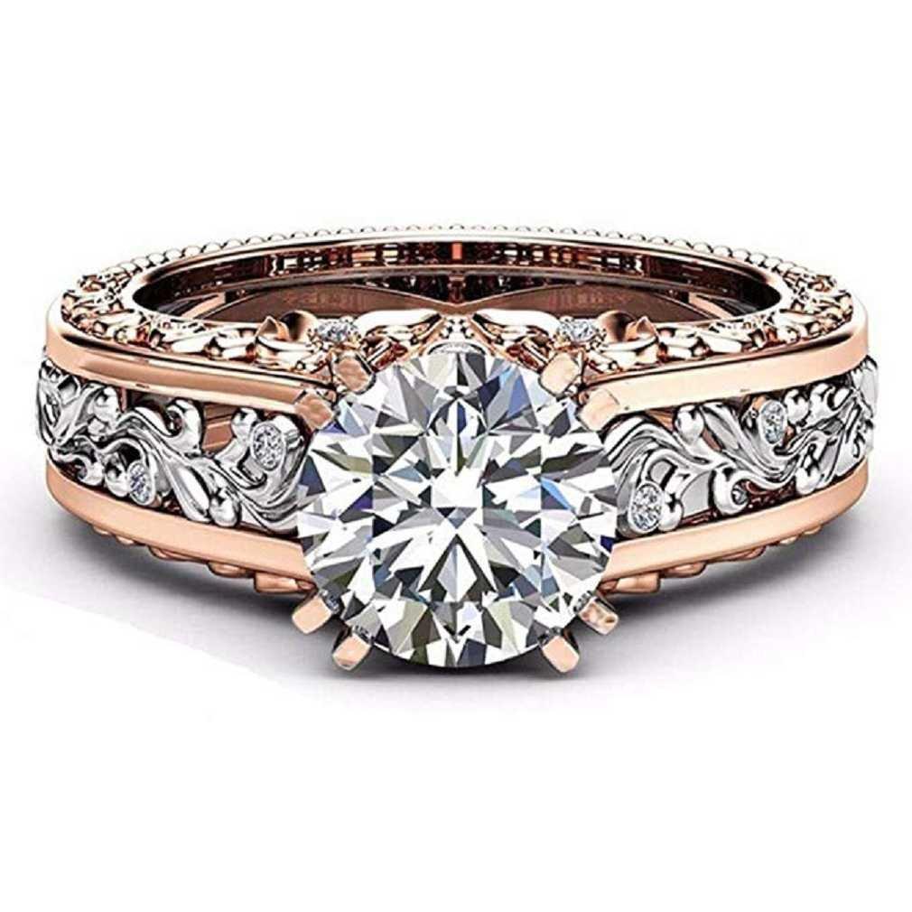 Liquidazione offerte, Fittingran Anello di nozze in oro rosa Pietre preziose Anelli di fidanzamento Anello floreale con gioielli regalo