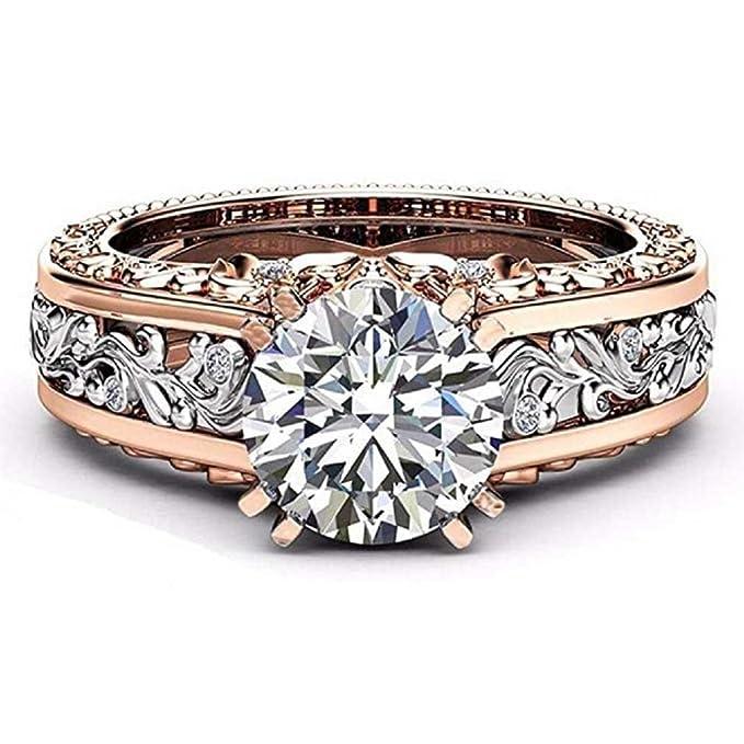 enorme sconto f135f 9f55a Liquidazione offerte, Fittingran Anello di nozze in oro rosa Pietre  preziose Anelli di fidanzamento Anello floreale con gioielli regalo