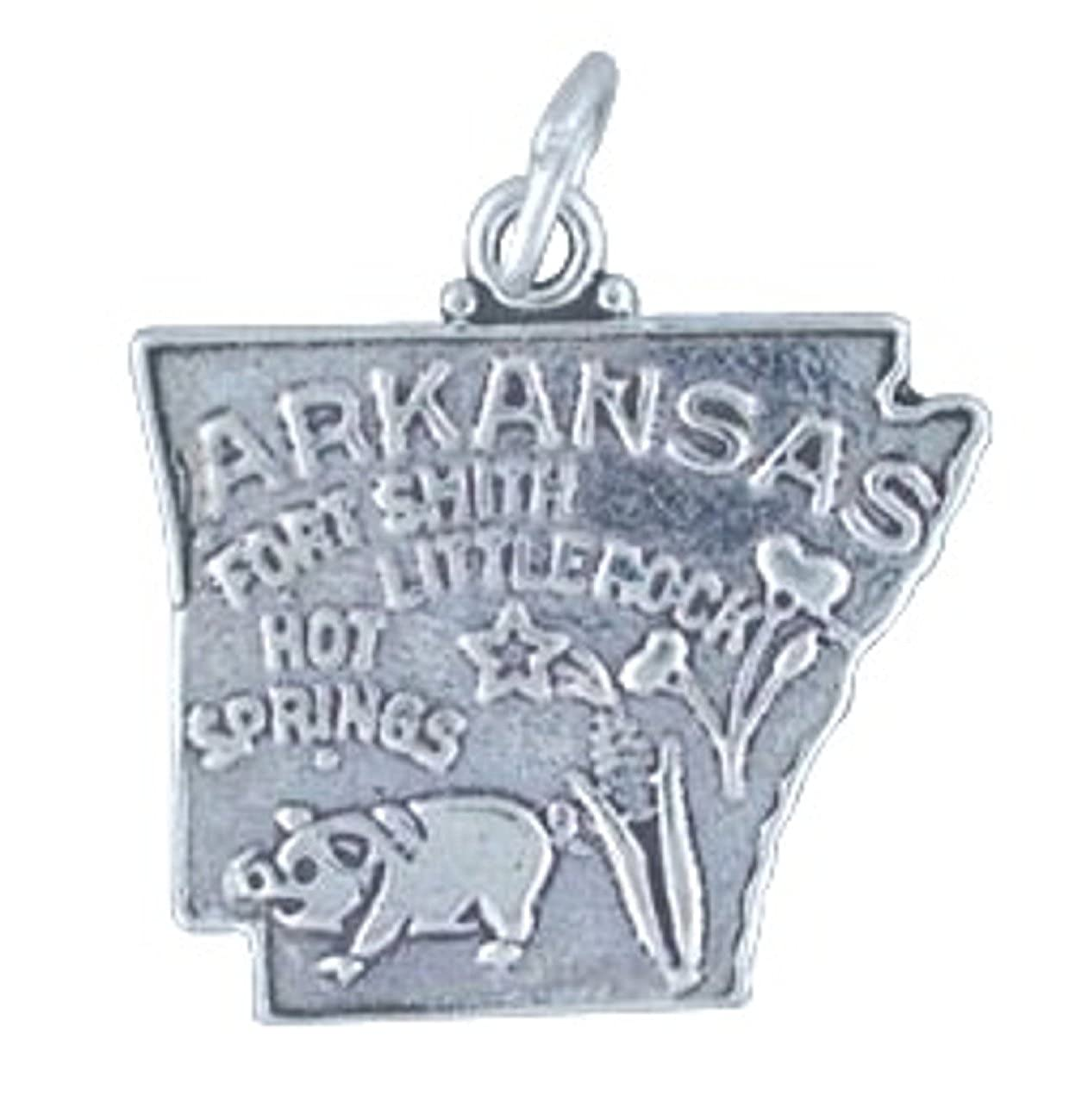 Sterling Silver Girls .8mm Box Chain ARKANSAS State Pendant Necklace