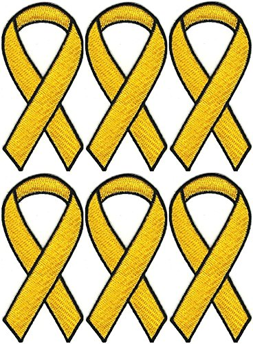 6 Pcs Support our Troops Yellow Ribbon Embroidered Patch 1 1/2