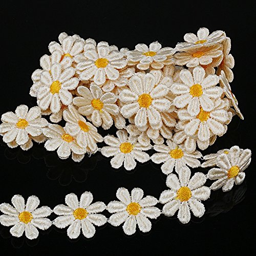 Smiry 2 Yards White Daisy Embroidery Flower Lace Ribbons Trim Collar Neckline Venise Lace Bridal Wedding Lace Sewing Accessories for DIY