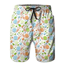 Vvw4 Cute Snails Pattern Quick Dry Water Beach Board Shorts Bathing Swimming Trunks With Poket For Men