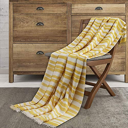 The Wish Tree Co. 50x60, Mustard Luxury Knitted Cotton, Lightweight (500 Grams) & Large for Bed, Chair, Couch, Sofa, Camping, Beach Or Travel Stripe Throw Blanket with Fringe- Super Soft, Wa