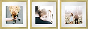 Sheffield Home Decor Collection- 3 Piece Picture Frame Set, Gallery Set, 12x12in, Floating to 8x8in (Gold)