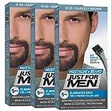 Facial Hair Dye - Just For Men Mustache and Beard Brush-In Color Gel, Darkest Brown (Pack of 3, Packaging May Vary)
