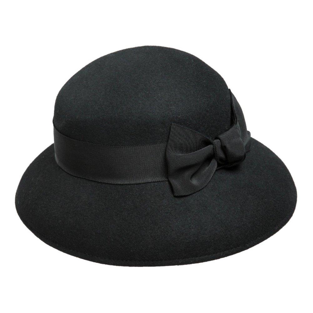 Autumn/winter Hat/England bow hat/Bucket Hat-Black adjustable
