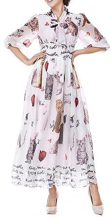 907ff9eb729 Women Dress White Chiffon Cat Print Long Sleeve Work Casual Party Formal  Tea Beach Vintage Maxi