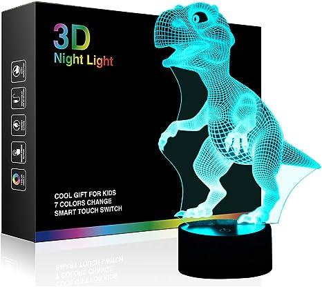 Dinosaurios 3d lámpara luz nocturna óptico Illusions, tiscen 7 ...