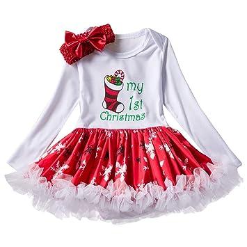Amazon.com: OUBAO Vestido de princesa para niña bebé Navidad ...