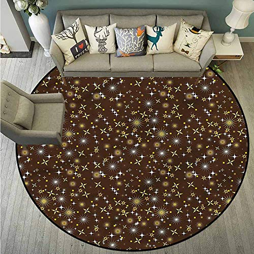 Non-Slip Round Rugs,Space,Different Shaped Stars,Anti-Static, Water-Repellent Rugs,3