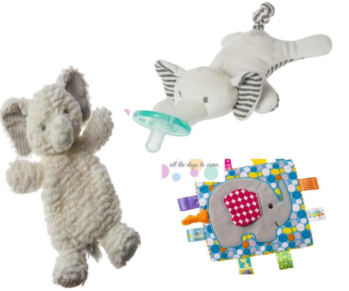 Wubbanub Sensory Toy Safari Animals Gift Set with Elephant Lovey, Wubbanub and Crinkle Teether Sensory Toy and Mini Gift Card