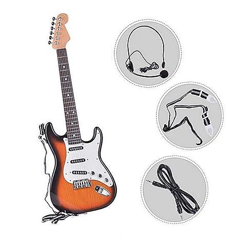 Kbsin212 Guitarra eléctrica de Juguete para niños - Guitarra eléctrica para niños Que se Puede Tocar Juguete Simulación de música 6 Cuerdas Día Musical para ...
