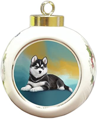 Doggie of the Day Siberian Husky Dog Round Ball Christmas Ornament RBPOR48124