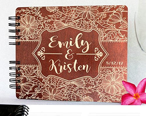 Guest Engraved Book (Custom Flower Design Wedding Guestbook 8.7x7 Mahogany Stain Wood Anniversary Rustic Guest Book Gift Engraved Bride Groom Guest Album)
