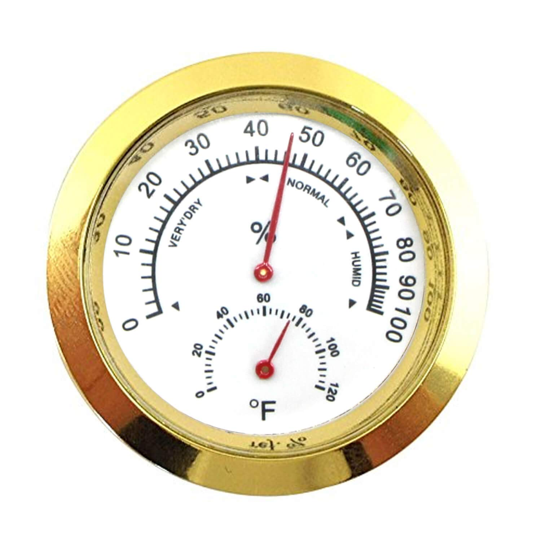 Humidor Hygrometer Analog 2 3/8 inch Round Humidity&Temperature Gauge Meter