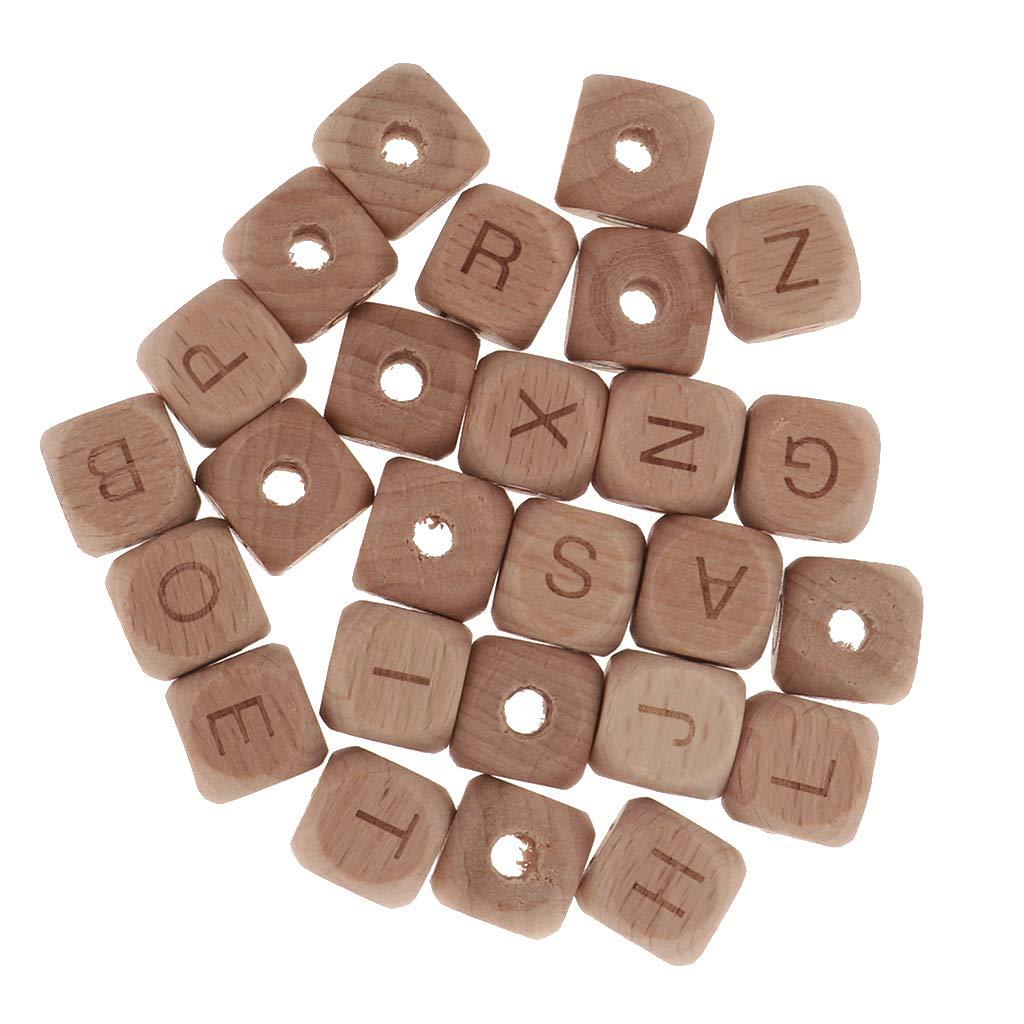 Juguetes. B Baosity 26 Unids Cuentas de Madera Forma de Cubo y Letras Diferentes Accesorios de Bricolaje Educativos