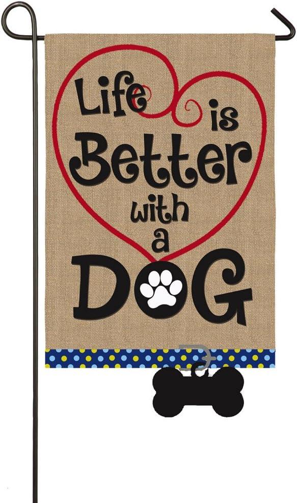 Evergreen Flag Life S Better With A Dog Burlap Garden Flag 12 5 X 18 Inches Outdoor Decor For Homes And Gardens Garden Outdoor