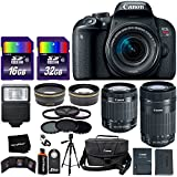 Canon EOS Rebel T7i Digital SLR Camera International Version + 18-55mm STM Lens + 55-250mm STM Zoom Lens + Telephoto & Wide Lenses + Canon Case + Flash + ND & UV Filter Set + 48GB SD Memory + Tripod