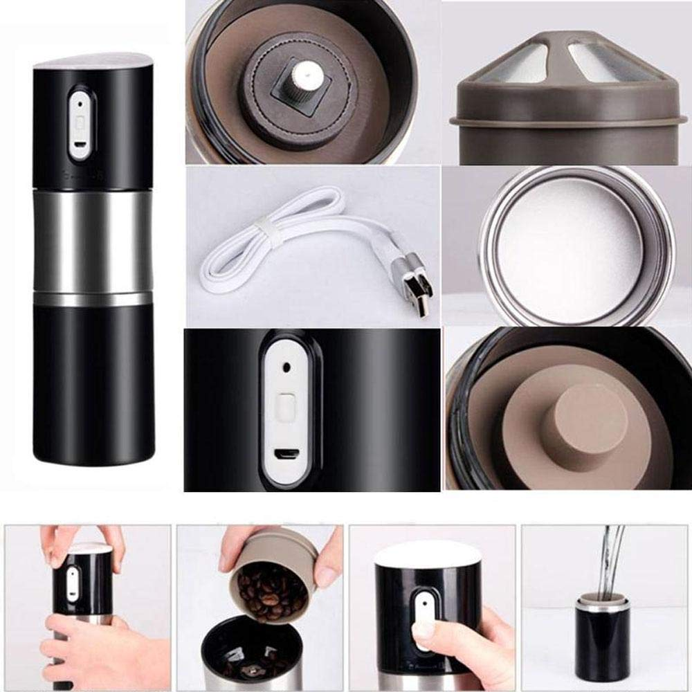 Layopo Electric Coffee Grinder USB Rechargeable Smart Coffee Bean Grinder- Multi-Function Stainless Steel Personal Coffee Grinder Coffee Cup with Filter for Office, Home, Travel, Camping by Layopo (Image #5)