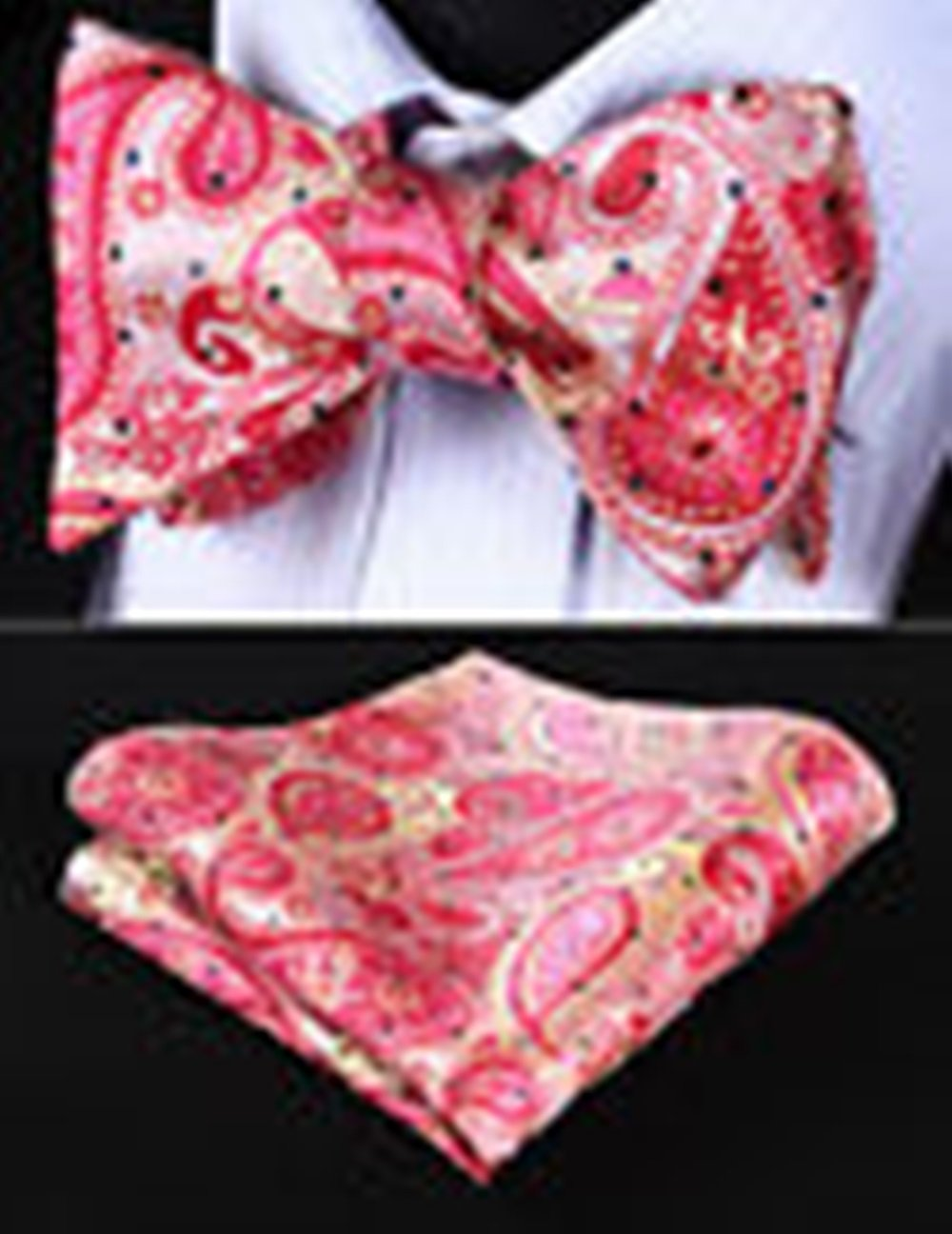Mondaily DL706K Pink DLige Paisley Men Silk Classic Self Bow Tie Pocket Square set #PPTE4686