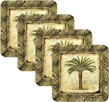 Merritt International Tropical Palm Tree Cork Back Coasters, Set of Four, 4-Inch