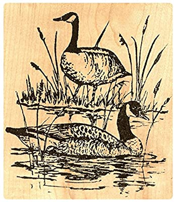 """{Single Count} Unique & Custom (4"""" by 4 3/4"""" Inches) """"Canadian Geese Pair & Lake"""" Rectangle Shaped Genuine Wood Mounted Rubber Inking Stamp"""