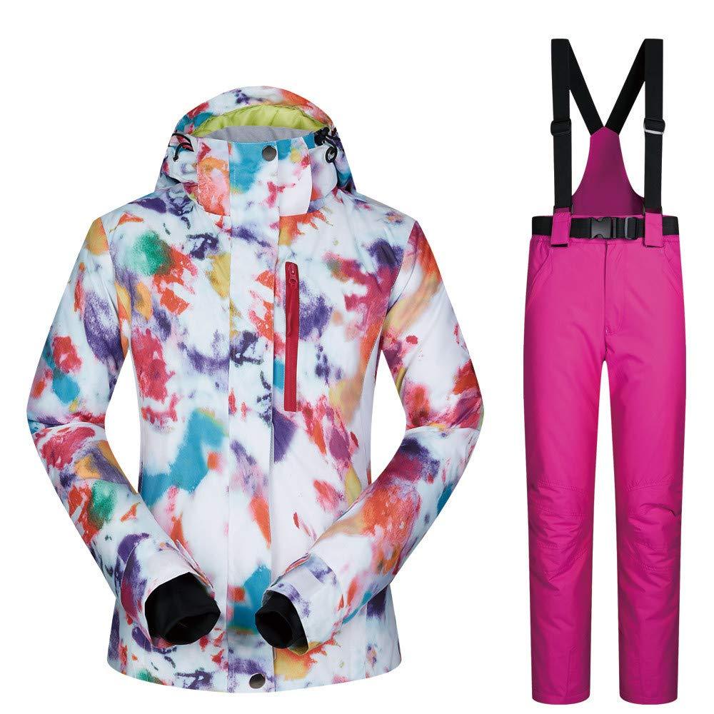 女性のカラフルなスキージャケットとズボンセット アウトドアスポーツスキースーツ女性のスーツスノースーツ暖かい通気性の着用女性のスキースーツジャケット 防風 (色 : C4, サイズ : L) C4 Large